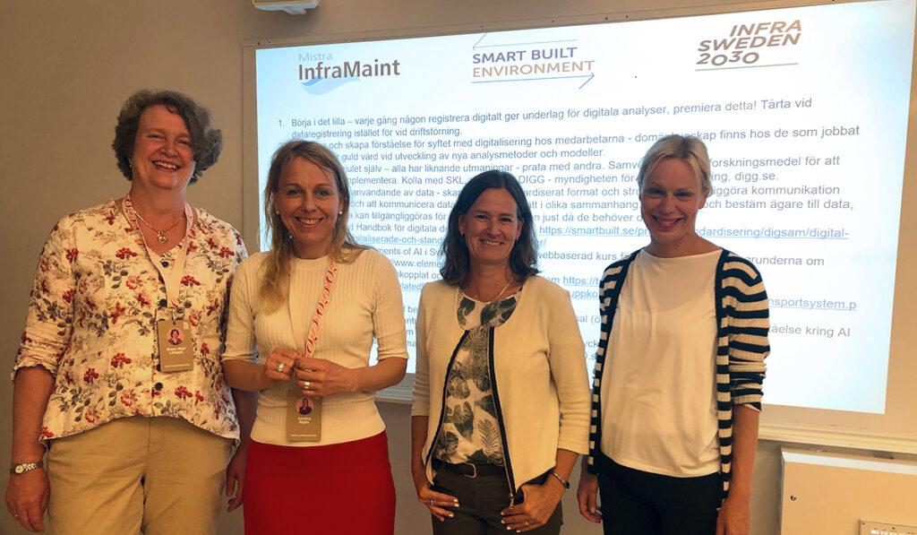 Gunn-Mari Löfdahl och Annika Malm, Mistra Inframaint, Kristina Gabrielii, Smart Built Environment och Camilla Byström, InfraSweden2030.