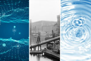 Collage IoT, histrisk bild, vatten
